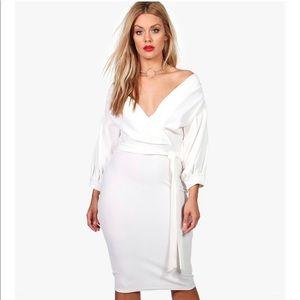Plus size off the shoulder wrap midi dress